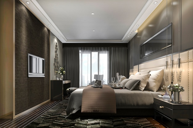 3d rendering black luxury modern bedroom suite in hotel and resort