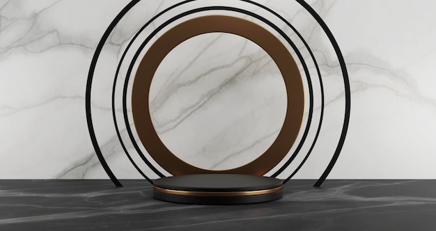 3d rendering of black marble pedestal isolated on white marble background, abstract minimal concept, blank space