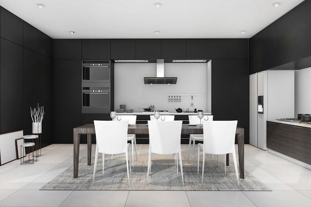 3d рендеринг черный современная столовая и кухня