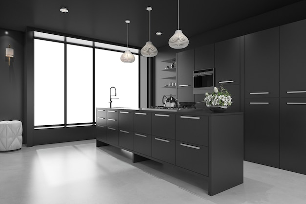 3d rendering black modern luxury kitchen and dining room