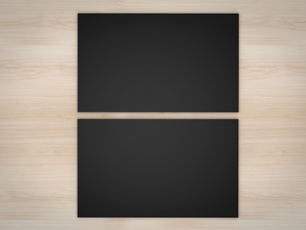 3dレンダリング黒の名前カードの前面と木製の背景に黒