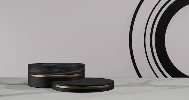 3d rendering. black pedestal on black background. abstract minimal concept