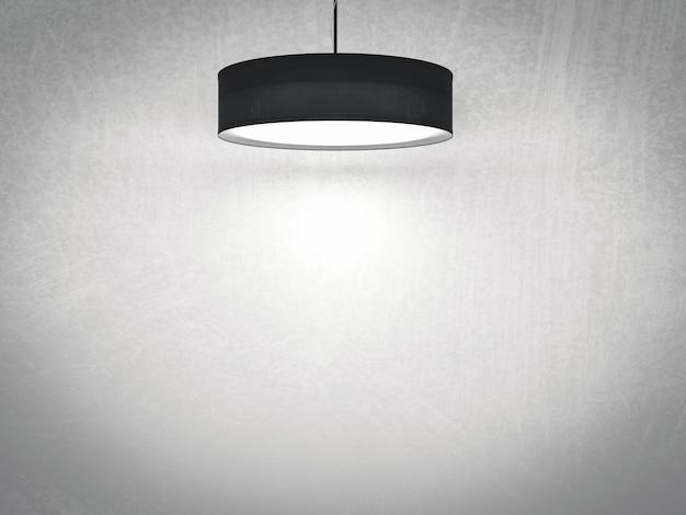 天井にぶら下がっている3dレンダリングの黒いペンダントランプ Premium写真