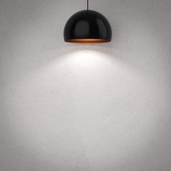 天井にぶら下がっている3dレンダリングの黒いペンダントランプ