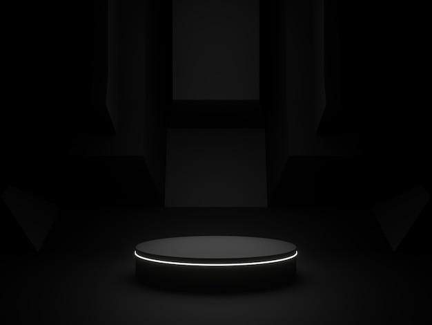 製品ディスプレイ用の3dレンダリング黒表彰台