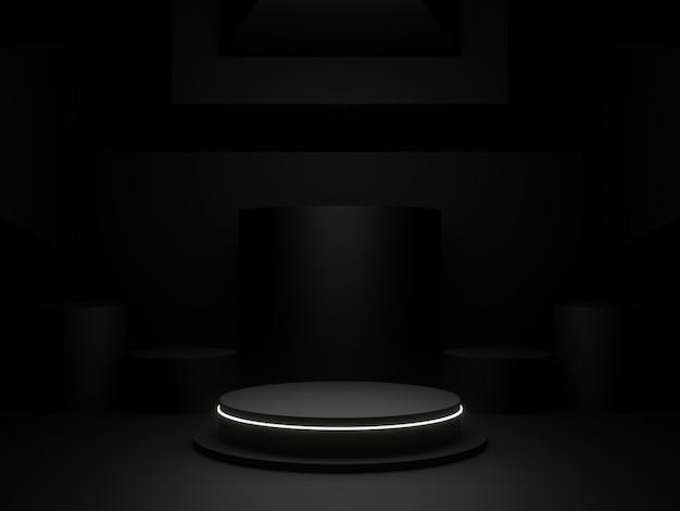 製品ディスプレイ用の3dレンダリング黒表彰台 Premium写真