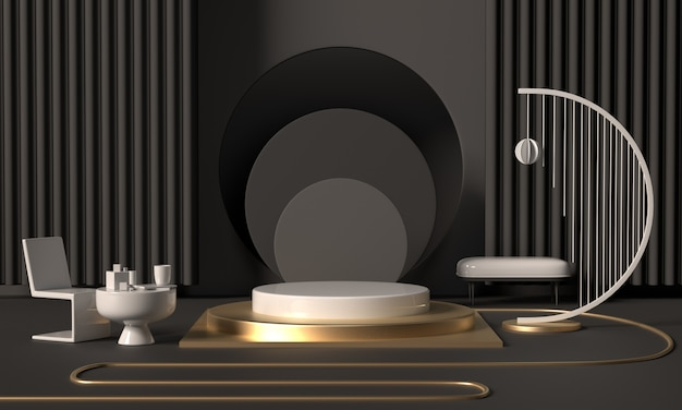 3d rendering black podium geometry with gold elements. abstract geometric shape blank podium. minimal scene square step floor abstract composition