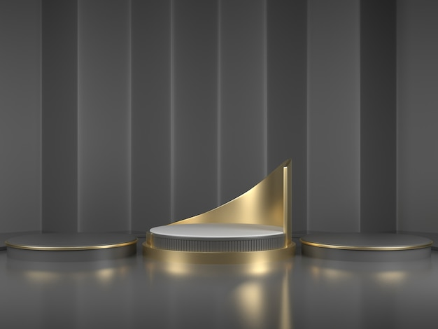 3d rendering black podium geometry with gold elements  abstract geometric shape blank podium  minimal scene square step floor abstract composition