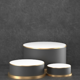 3d 렌더링 골드 요소와 검은 연단 형상.