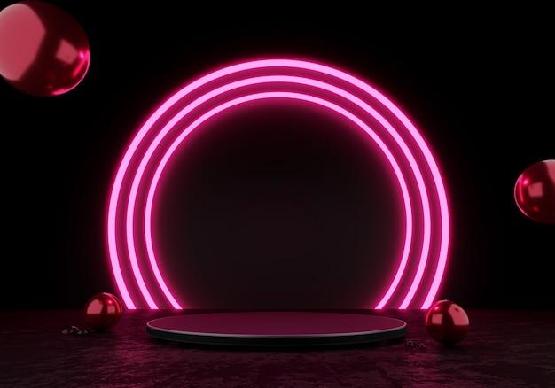3d 렌더링 검은색 연단 또는 받침대 디스플레이 빈 제품 서 있는 분홍색 원 광선 네온 불빛