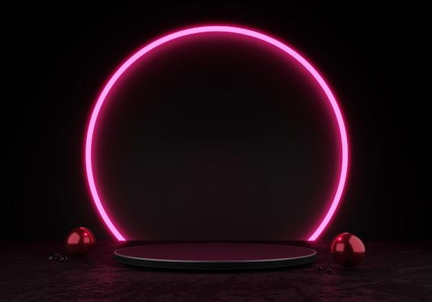 3dレンダリング黒の表彰台または台座ディスプレイ空白の製品立っているピンクの円の輝きネオンライト