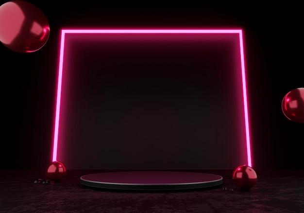 3d 렌더링 검은색 연단 또는 받침대 디스플레이 빈 제품 서 있는 분홍색 사각형 광선 네온 불빛