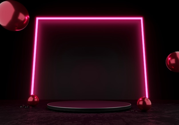 3d rendering black podium or pedestal display blank product standing pink square glow neon light
