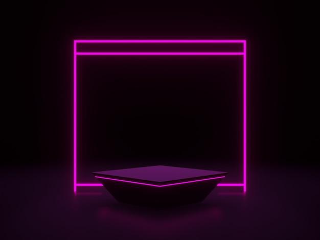 3d-рендеринг. черный подиум с розовыми неоновыми огнями.