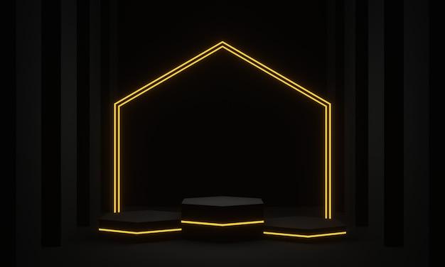 3d 렌더링 노란색 네온 불빛이 있는 검은색 제품 스탠드