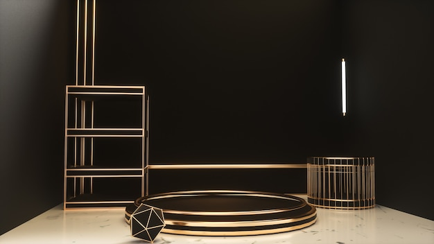 3d rendering of black realistic with gold stage platform podium for product display Premium Photo