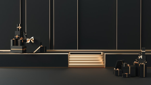 3d rendering of black realistic with gold stage platform podium for product display