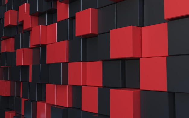 3d rendering black red cube abstract background