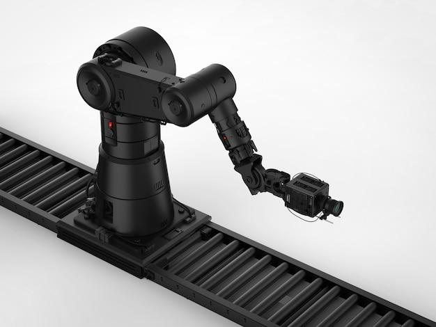 3d-рендеринг черной роботизированной камеры с тележкой-слайдером