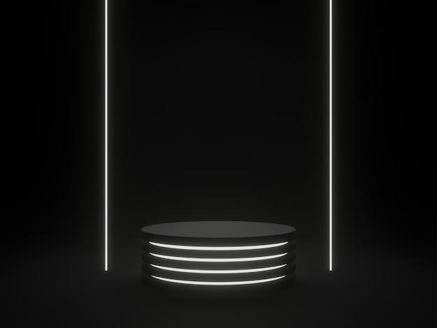 3d 렌더링 블랙 sci fi 제품 스탠드 흰색 네온 불빛