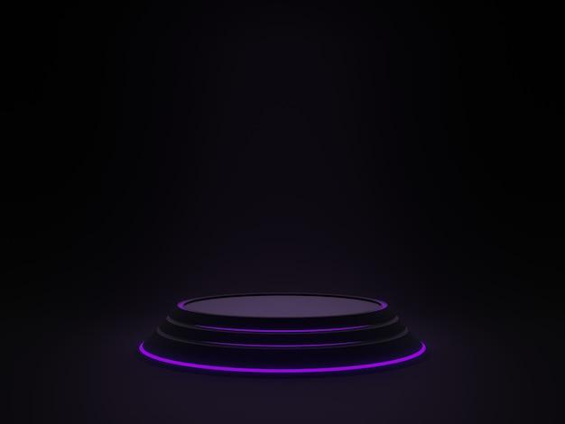 3d 렌더링. 보라색 네온 불빛과 함께 검은 과학 연단. 어두운 배경.
