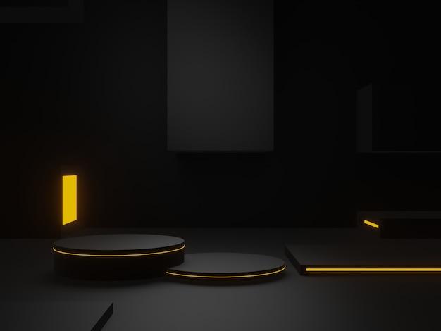 3d 렌더링 검은 과학적 무대. 어두운 배경.
