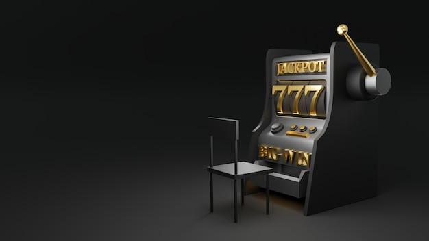 3d 렌더링 검은 슬롯 머신, 카지노 개념.