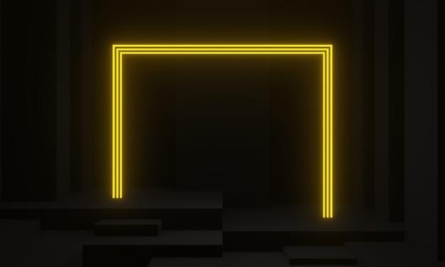 3d 렌더링 노란색 네온 프레임 블랙 무대