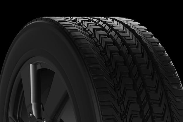 3d рендеринг текстуры черной шины на черном фоне