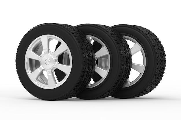 合金ホイールが連続した3dレンダリングブラックタイヤ