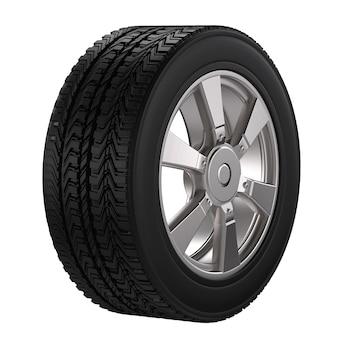 白で隔離される合金ホイールと黒のタイヤをレンダリングする3d