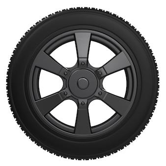 白で隔離される黒い車輪が付いている黒いタイヤをレンダリングする3d