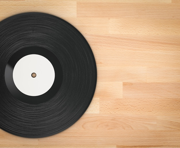 3d rendering black vinyl record on wooden background
