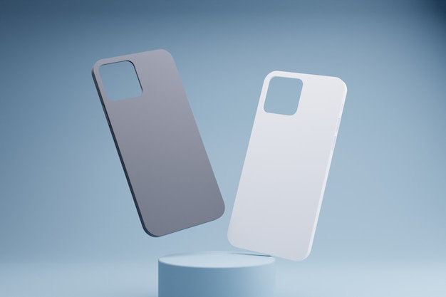 3d rendering of black and white phone cases