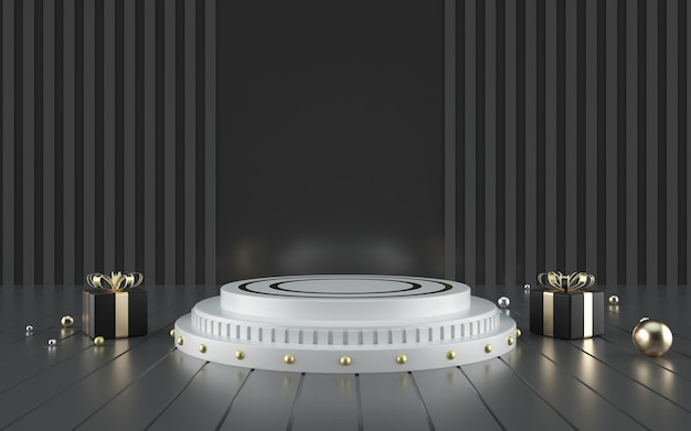 3d rendering of black with white podium for product display