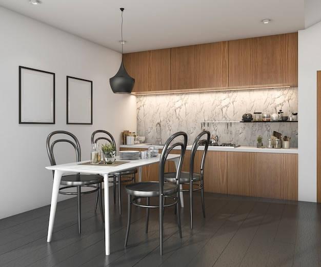 3d rendering black wood floor kitchen with loft furniture