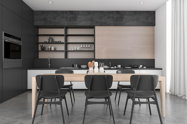 3d rendering black wood loft dining room and kitchen