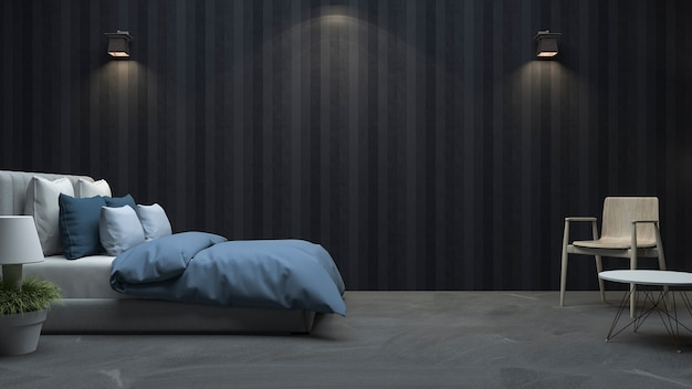 3d rendering black wood wall bedroom with nice light