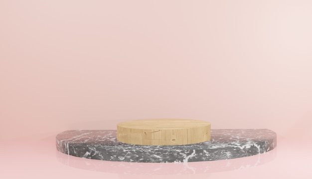 3d rendering of black wooden and marble podium template with leaves on pink background illustration