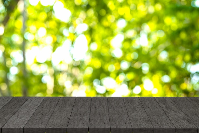 3d rendering, black wooden shelves or black wood table with view nature background,