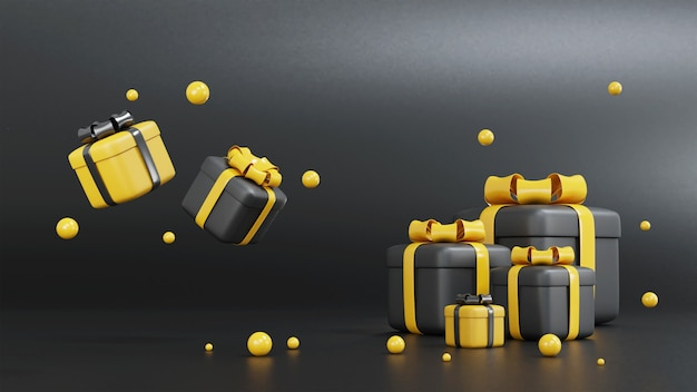 3d rendering black and yellow gift box for birthday