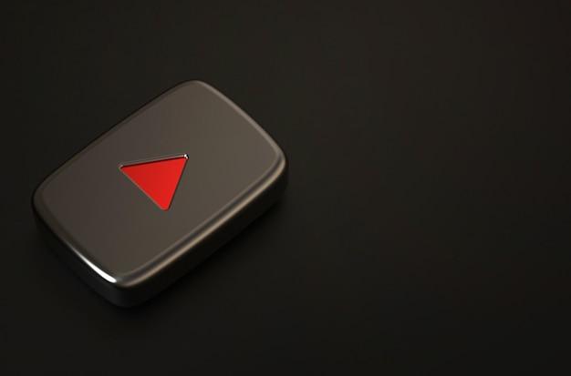3d rendering of black youtube logo