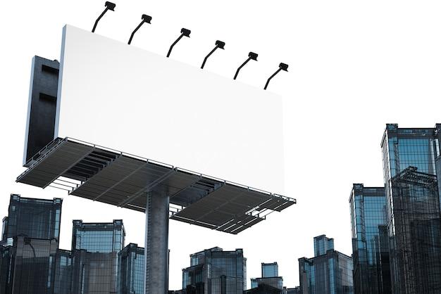 3d рендеринг пустой рекламный щит со зданиями на белом фоне