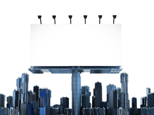 3d rendering blank billboard with buildings on white background