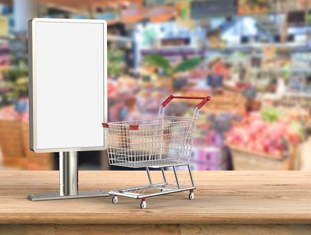 3d-рендеринг пустой рекламный щит с тележкой для покупок