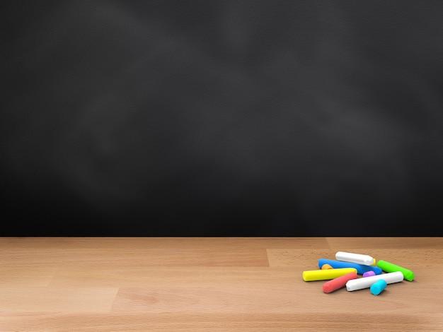 3d-рендеринг пустой доски с мелками на деревянном полу
