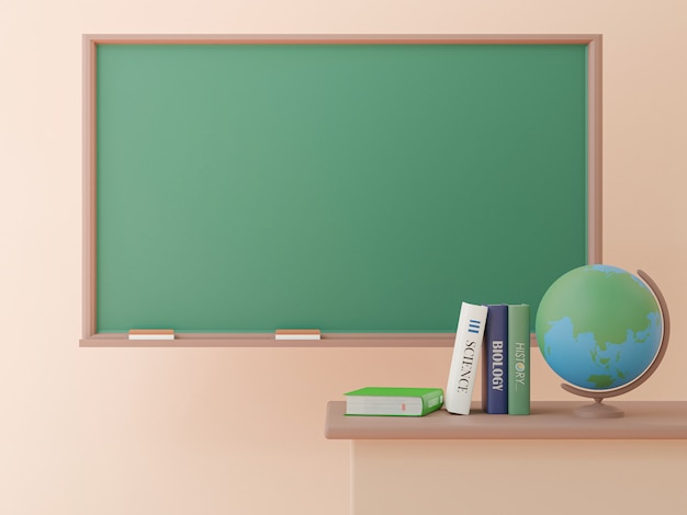3d rendering, blank blackboard with world globe and books