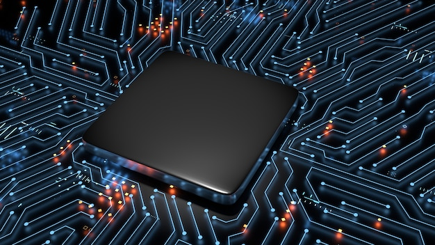 3d rendering of blank empty cpu on glowing circuit main board background.