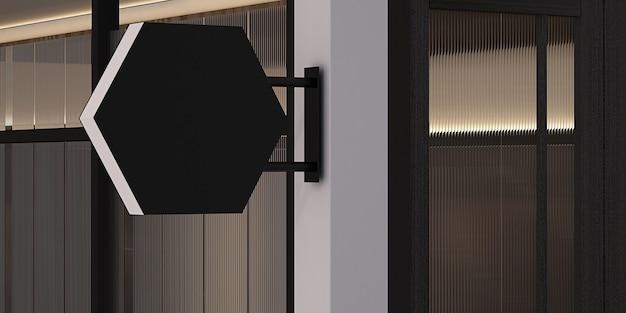 3d-рендеринг макета пустого шестиугольника, черные пустые вывески на фасаде магазина.