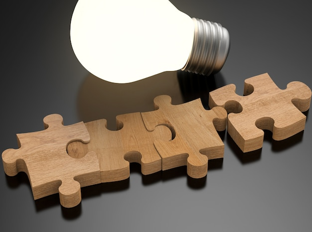 3d рендеринг пустых частей головоломки с сияющей лампочкой